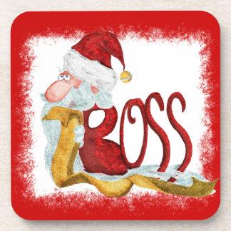 Funny Santa Christmas coasters for boss