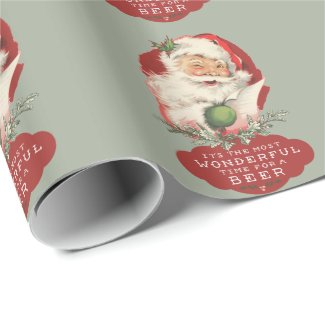 Funny Santa Christmas Wonderful Time for a Beer Wrapping Paper
