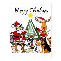 Funny Santa Claus and Friends Christmas Cartoon Postcard