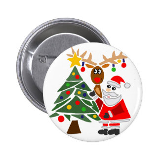 Funny Santa Claus And Reindeer Abstract Pinback Button