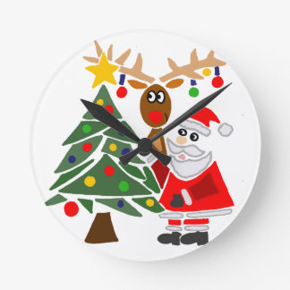 Funny Santa Claus And Reindeer Abstract Round Clock