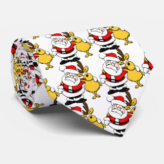Funny Santa Claus and Reindeer Christmas Neck Tie