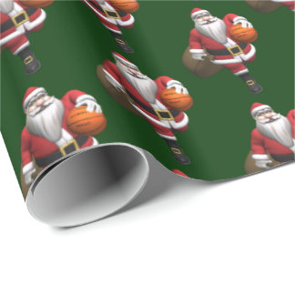 Funny Santa Claus Basketball Player Wrapping Paper