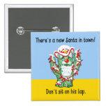 Funny Santa Claus Cactus Christmas Humor Buttons