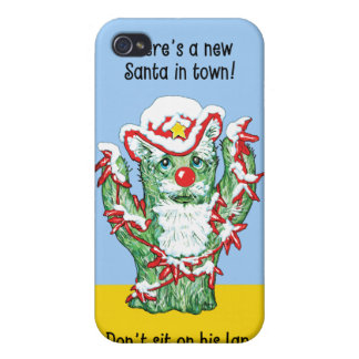 Funny Santa Claus Cactus Christmas Humor Cases For iPhone 4