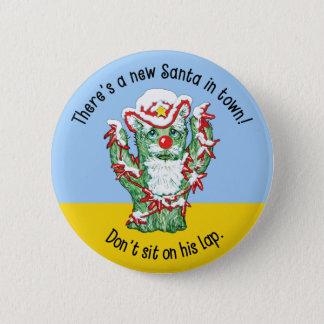 Funny Santa Claus Cactus Christmas Humor Pinback Button