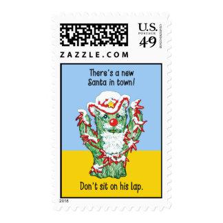 Funny Santa Claus Cactus Christmas Humor Postage Stamp