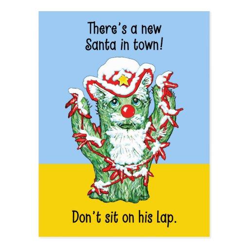 Funny Santa Claus Cactus Christmas Humor Postcard
