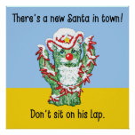 Funny Santa Claus Cactus Christmas Humor Posters