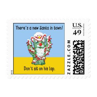 Funny Santa Claus Cactus Christmas Humor Stamp