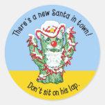 Funny Santa Claus Cactus Christmas Humor Round Sticker