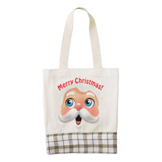 Funny Santa Claus Cartoon Zazzle HEART Tote Bag