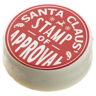 Funny Santa Claus Christmas Approval Stamp Party Chocolate Covered Oreo