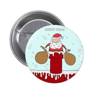 Funny Santa Claus Christmas greeting 2 Inch Round Button