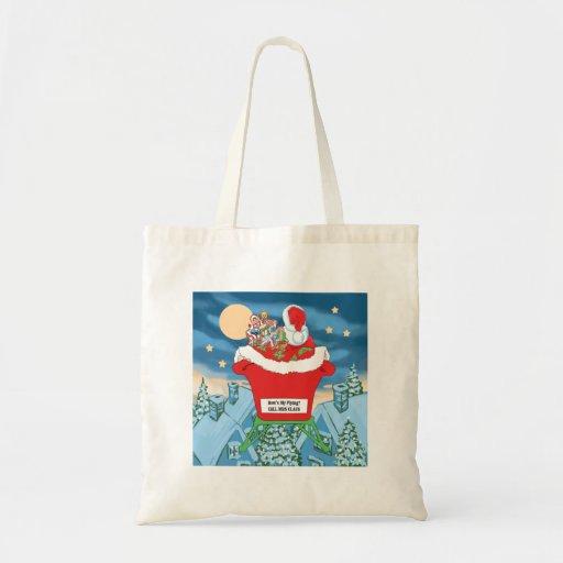 Funny Santa Claus Christmas Humor How's My Flying Budget Tote Bag