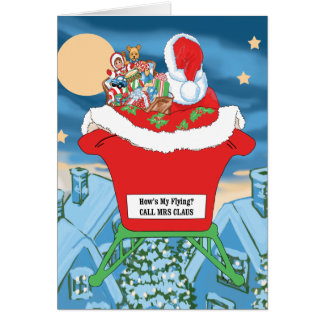 Funny Santa Claus Christmas Humor How's My Flying Card