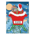 Funny Santa Claus Christmas Humor How's My Flying Greeting Card