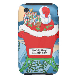 Funny Santa Claus Christmas Humor How's My Flying iPhone 3 Tough Case
