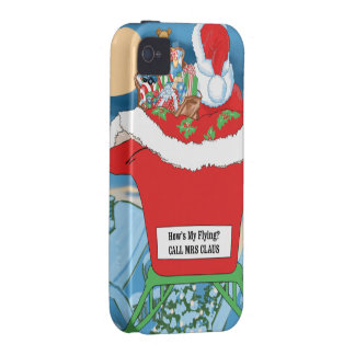 Funny Santa Claus Christmas Humor How's My Flying iPhone 4/4S Covers