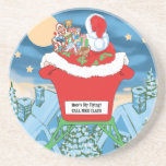 Funny Santa Claus Christmas Humor How's My Flying Drink Coasters