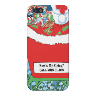 Funny Santa Claus Christmas Humor How's My Flying iPhone 5/5S Cover