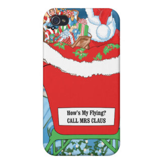 Funny Santa Claus Christmas Humor How's My Flying iPhone 4 Case