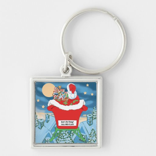 Funny Santa Claus Christmas Humor How's My Flying Keychains