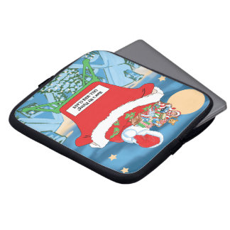 Funny Santa Claus Christmas Humor How's My Flying Laptop Sleeve
