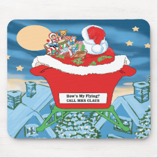 Funny Santa Claus Christmas Humor How's My Flying Mousepad