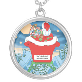 Funny Santa Claus Christmas Humor How's My Flying Jewelry