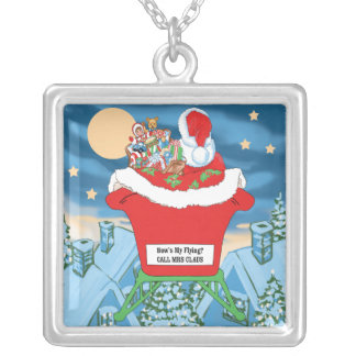Funny Santa Claus Christmas Humor How's My Flying Pendant