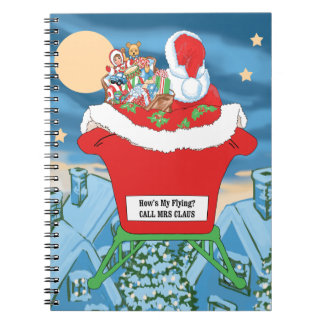Funny Santa Claus Christmas Humor How's My Flying Note Book
