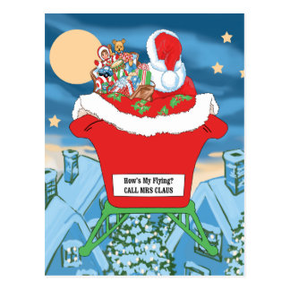 Funny Santa Claus Christmas Humor How's My Flying Postcard