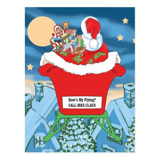 Funny Santa Claus Christmas Humor How's My Flying Postcard