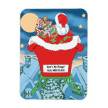 Funny Santa Claus Christmas Humor How's My Flying Flexible Magnet