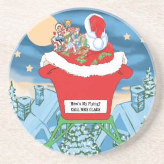 Funny Santa Claus Christmas Humor How's My Flying Sandstone Coaster