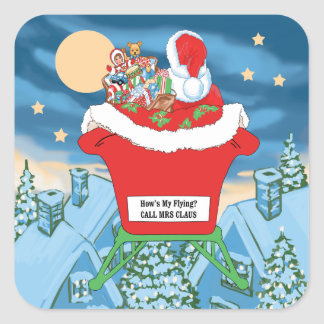 Funny Santa Claus Christmas Humor How's My Flying Square Sticker