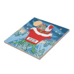 Funny Santa Claus Christmas Humor How's My Flying Ceramic Tiles