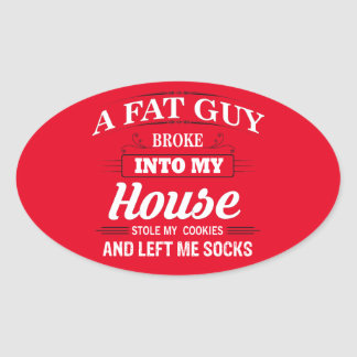 Funny Santa Claus Christmas Saying Oval Sticker