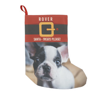 Funny Santa Claus Dog Photo and Name Personalized Small Christmas Stocking