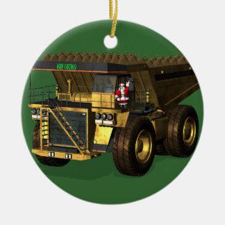 Funny Santa Claus Giant  Dump Truck Driver Ceramic Ornament