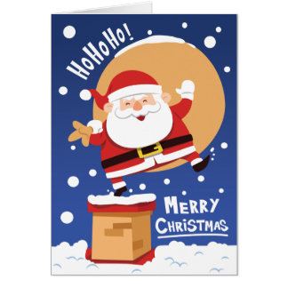 Funny Santa Claus going down the chimney Card