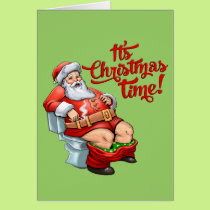 Funny Santa Claus Having a Rough Christmas Card