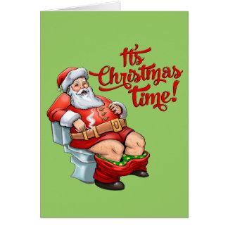 Funny Santa Claus Having a Rough Christmas Greeting Card