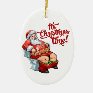 Funny Santa Claus Having a Rough Christmas Ceramic Ornament