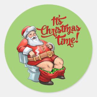 Funny Santa Claus Having a Rough Christmas Classic Round Sticker