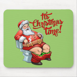 Funny Santa Claus Having a Rough Christmas Mouse Pad