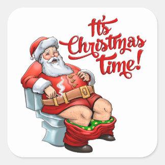 Funny Santa Claus Having a Rough Christmas Square Sticker