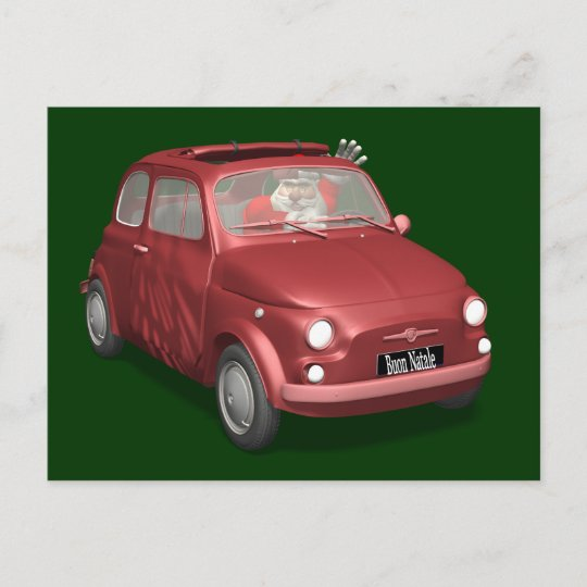 Funny Santa Claus In Red Fiat 500 Holiday Postcard Zazzlecom