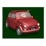 Funny Santa Claus In Red Fiat 500 Postcards
